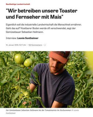 Ausschnitt aus dem Zeit Online Artikel über die regenerative Landwirtschaft am Schloss Tempelhof und die Relevanz der regionalen Lebensmittelversorung z.B. durch Market Garden.